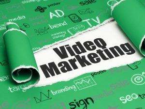 Advertising concept: black text Video Marketing under the piece